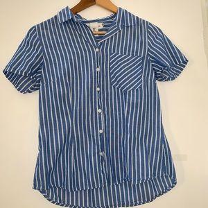 Stripe Chambray Pocket Button Down Collar Shirt